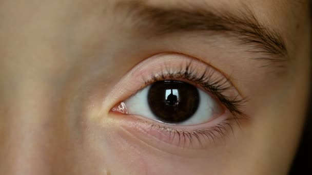 Girl child eye, dark brown left eye close up, Closeup of girl child eye