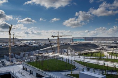 Istanbul / Turkey - November 13 2018:  New Istanbul Airport Terminal. Third Istanbul Airport, External view and construction