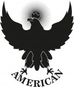 Fotografie Black eagle with a crown and text