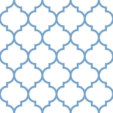 Vector moroccan repeat seamless pattern. Light blue on white background.