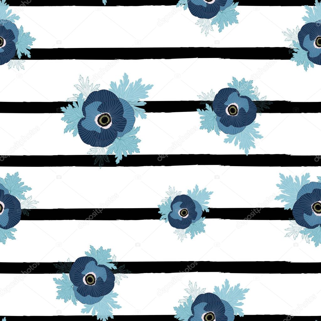 Vector floral repeat seamless pattern with blue anemone flowers on black and white stripes.