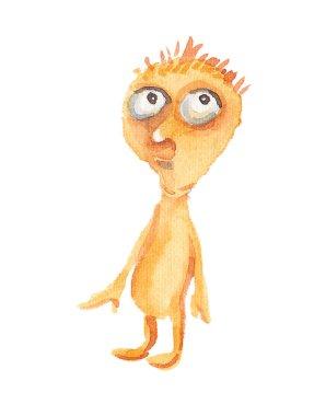 Strange little orange man like an alien thought about something