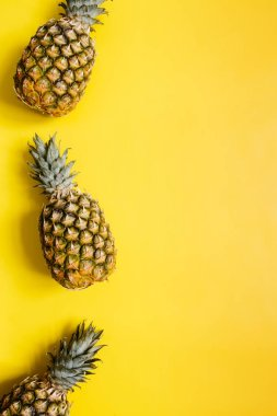 Ripe pineapples border frame on vivid yellow background isolated. Minimalist style trendy tropical concept. Empty space for text, copy, lettering.