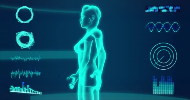 Futuristic x-ray of a woman body rotating under a blue Hud interface 3d rendering