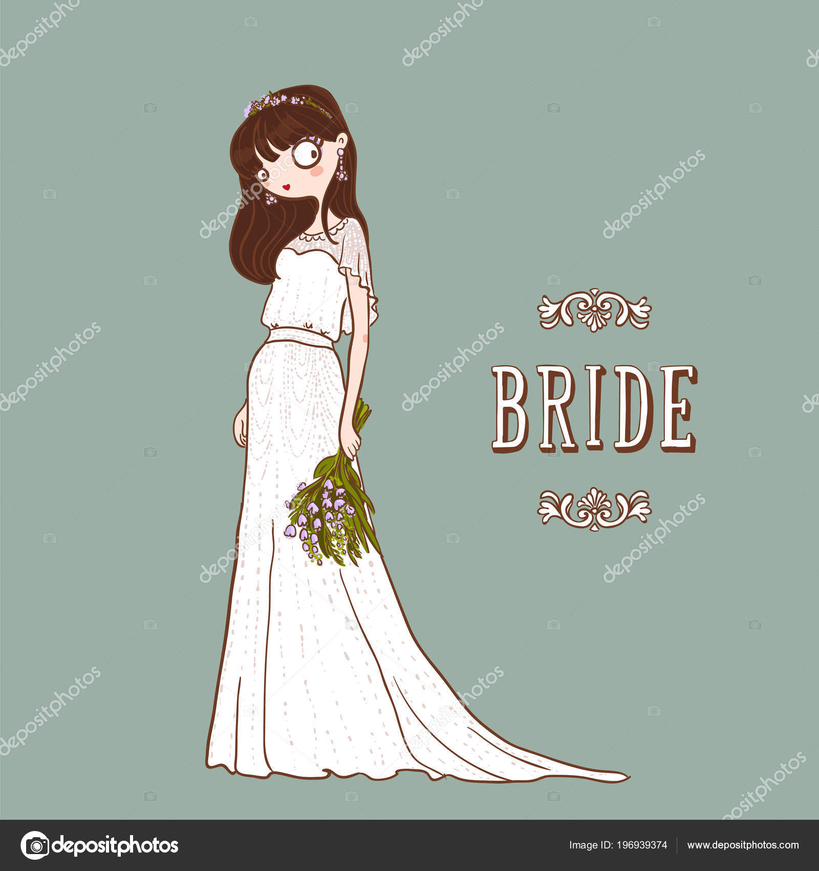 Cute Cartoon Bride White Wedding Dress Bouquet Flowers Vector