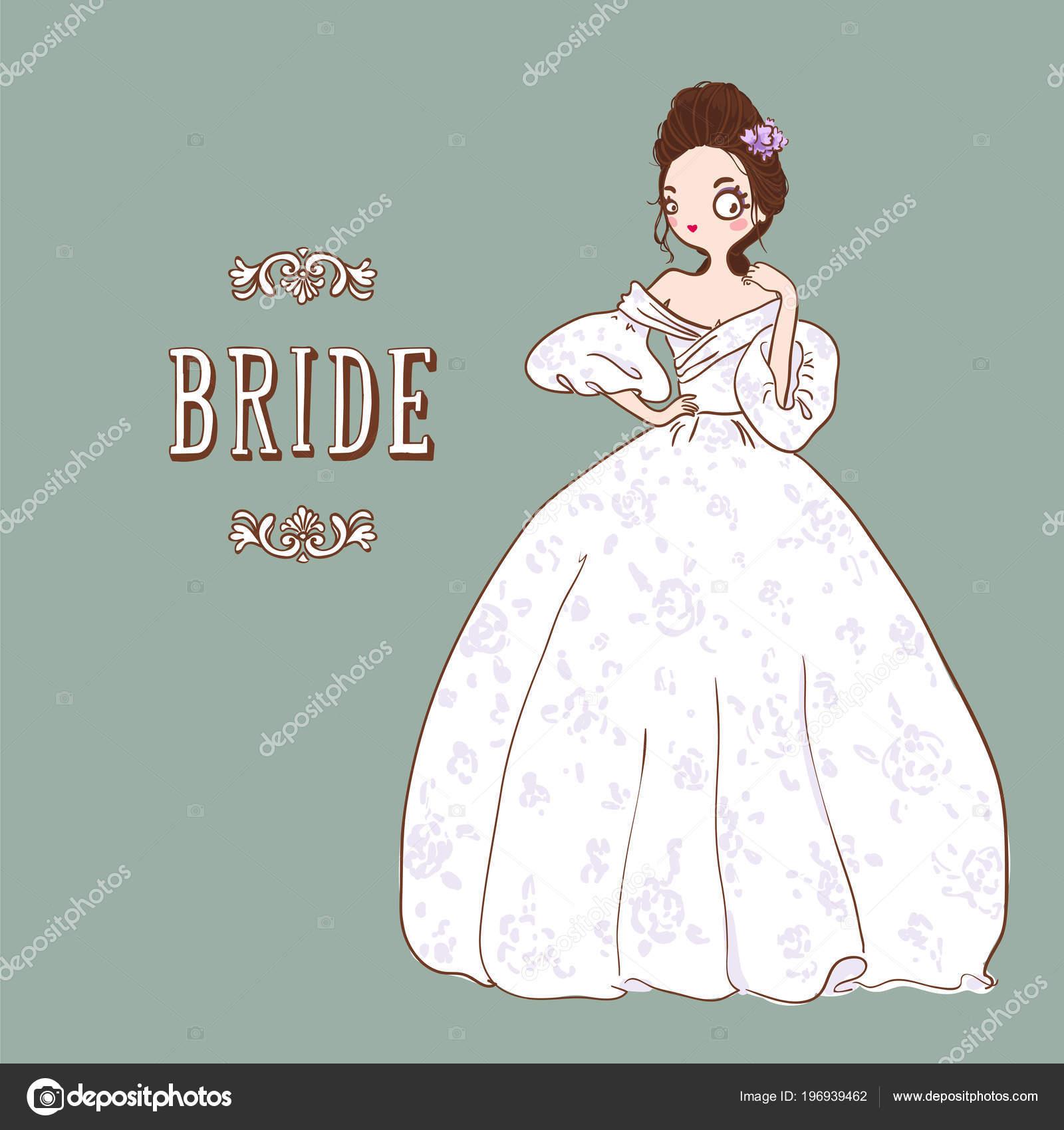 Dibujos Animados Lindo Novia Vestido Novia Blanco Ilustración Vector ...