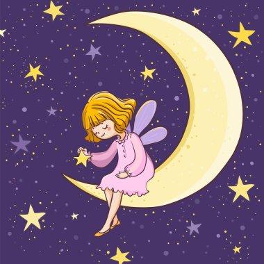 Cute fairy sitting on the moon at night. Vector illustration.