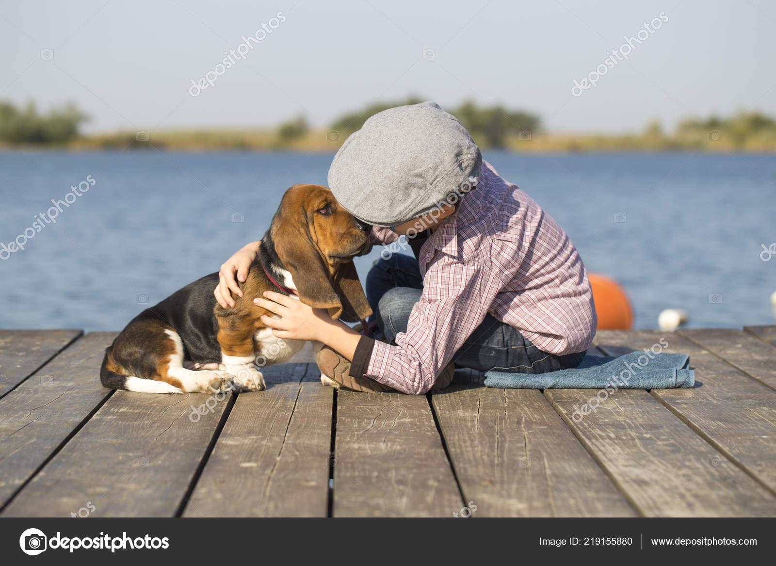 Little Cute Boy Sitting River His Dog Enjoy Together