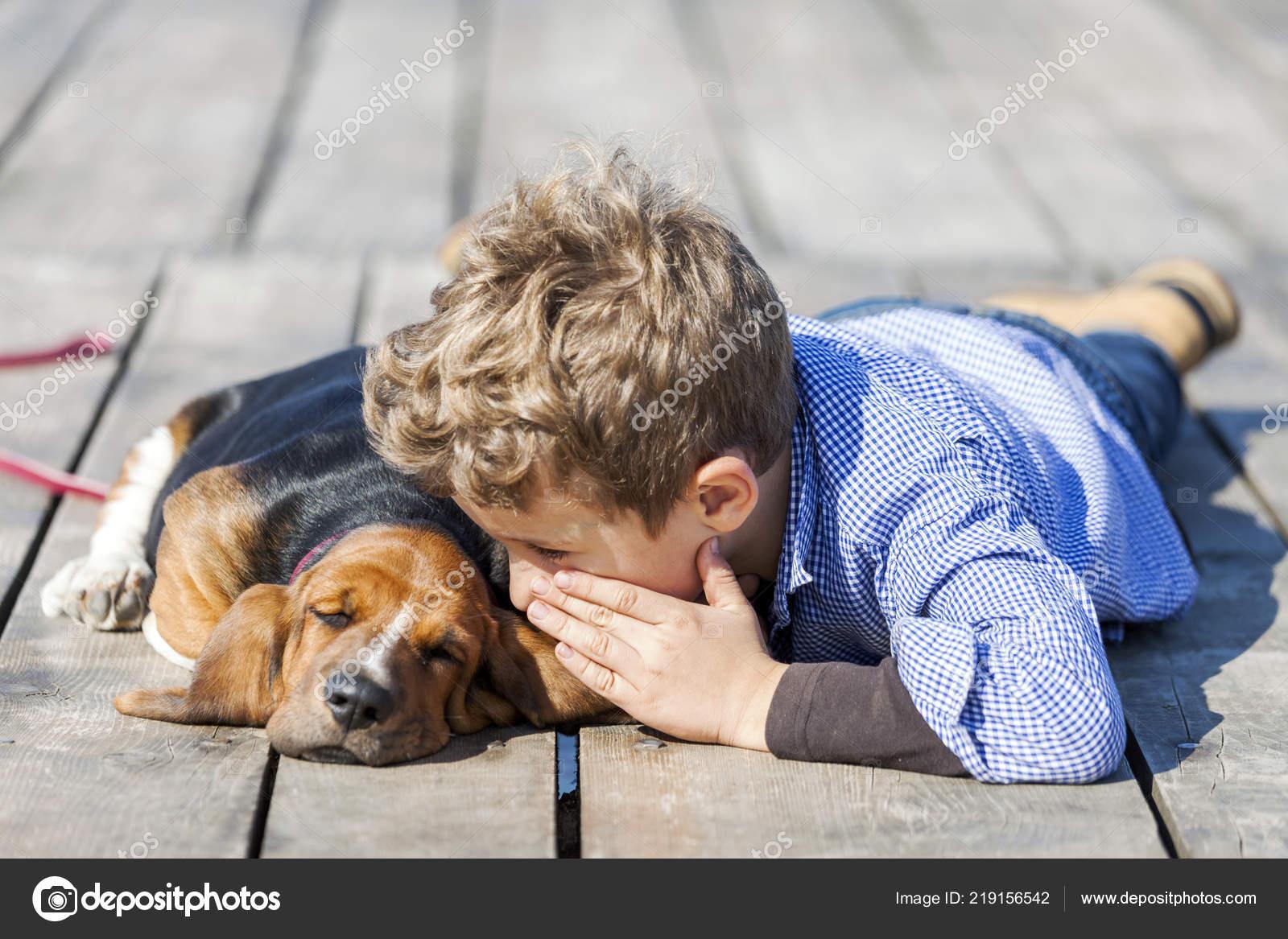 Little Cute Boy Lying River His Puppy Enjoy Together