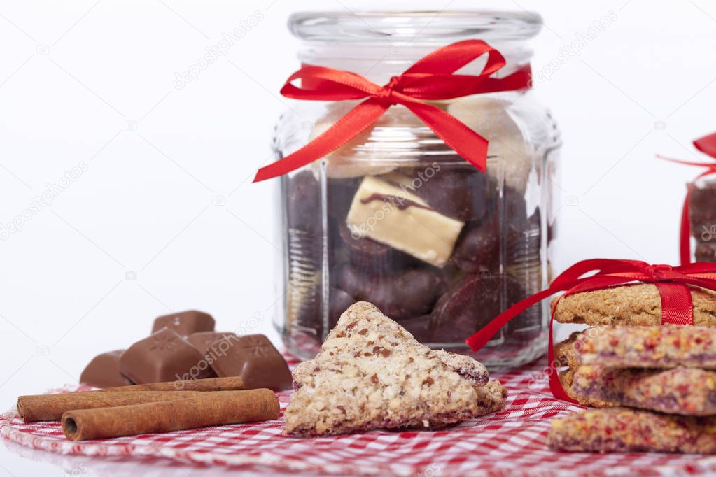 chocolate and a cookie as a delicacy and decorations, Selective focus and small depth of field