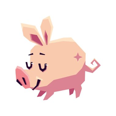 Stylized pink pig on a white background. Vector flat illustration