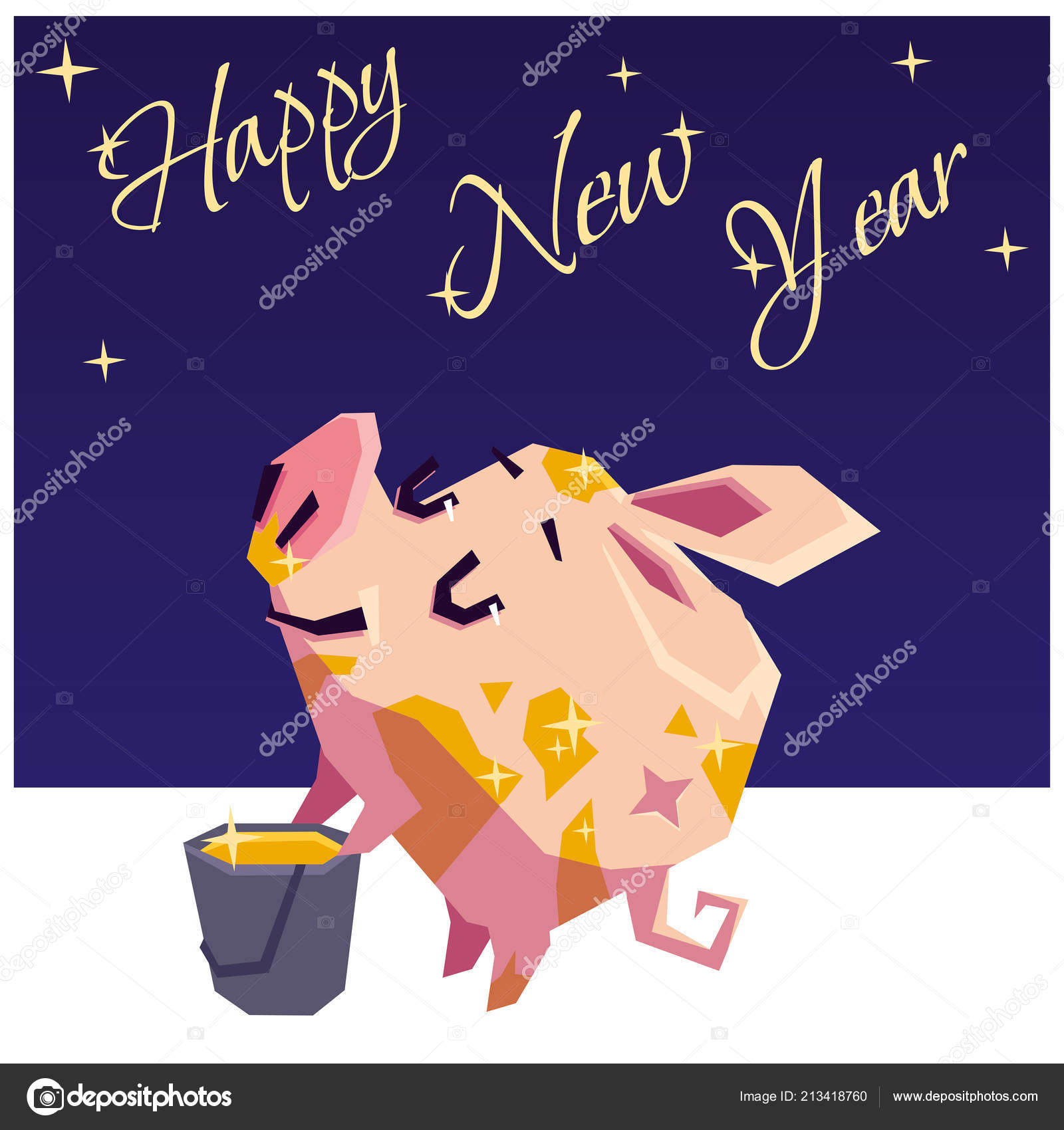 Happy New Year Happy Little Piggy Got Dirty Paint Vector — Stock ...