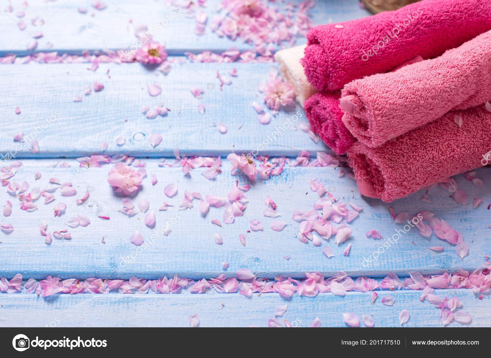 Set Pink Bath Towels Blue Wooden Background Selective Focus Place ...