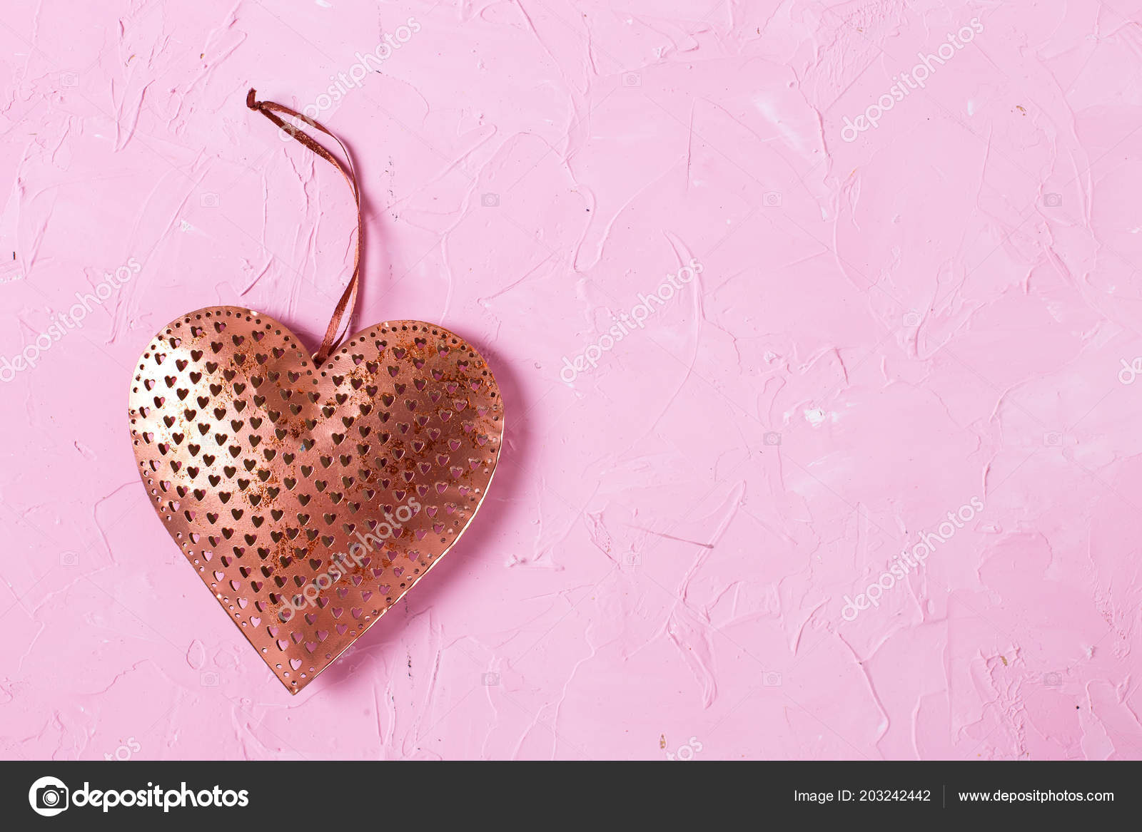 Copper Rustic Heart On Pink Textured Background Photo By Daffodil