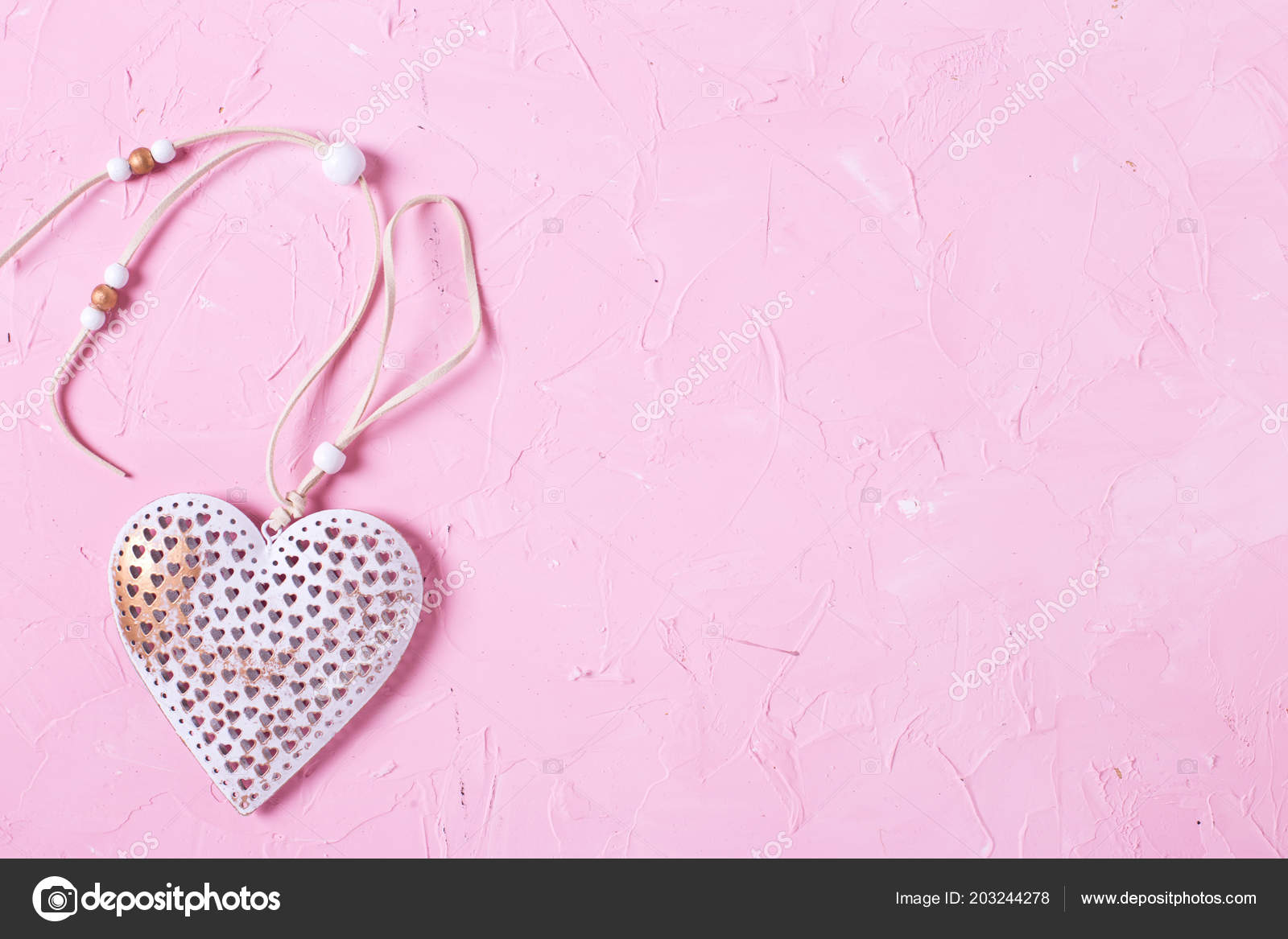 White Rustic Heart Pink Textured Background Stock Photo