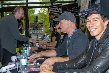 FUERTH, Germany - September 22nd 2018: Florian Clyde and Hans-Georg Panczak are happy to meet fans at Noris Force Con 5, a three day star wars fan convention for charity