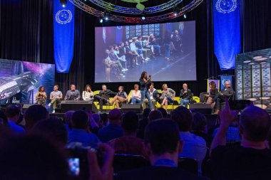 BONN, GERMANY - MAY 19th 2018: Kandyse McClure, Alessandro Juliani, Aaron Douglas, Grace Park, Tahmoh Penikett, James Callis, Tricia Helfer, Michael Trucco, Katee Sackhoff, Michael Hogan, Rekha Sharma, Mary McDonnell and Edward James Olmos at Fedcon