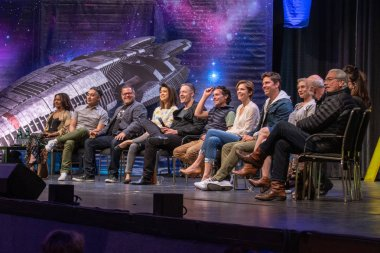 BONN, GERMANY - MAY 19th 2018: Kandyse McClure, Aaron Douglas, Grace Park, Tahmoh Penikett, James Callis, Tricia Helfer, Michael Trucco, Katee Sackhoff, Michael Hogan, Rekha Sharma, Mary McDonnell and Edward James Olmos, Battlestar Galactica Reunion,