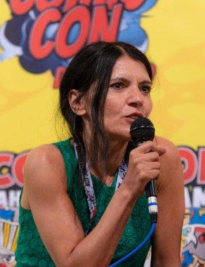 FRANKFURT, GERMANY - MAY 6th 2018: Ghadah Al-Akel (*1965, actress, german voice of Michelle Rodriguez, Blossom (Power Puff Girls), Pharah (Overwatch)) at German Comic Con Frankfurt
