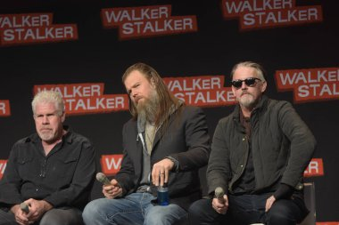 MANNHEIM, GERMANY - MAR 17th 2018: Ryan Hurst, Tommy Flanagan and Ron Perlman talk about their experiences in Sons of Anarchy at Walker Stalker Germany