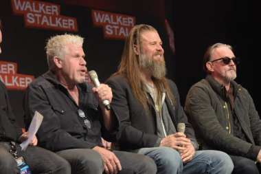 MANNHEIM, GERMANY - MAR 17th 2018: Ron Perlman, Ryan Hurst and Tommy Flanagan at Walker Stalker Germany, a two day convention for fans of The Walking Dead