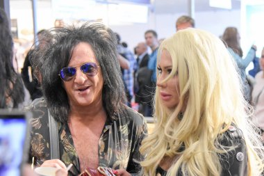 Frankfurt, Germany. 8th April 2017. Guitarist Steve Stevens (Billy Idol)  and his wife Josie Stevens ( model, stylist, TV personality, host & fashion designer) at Musikmesse in Frankfurt, Germany