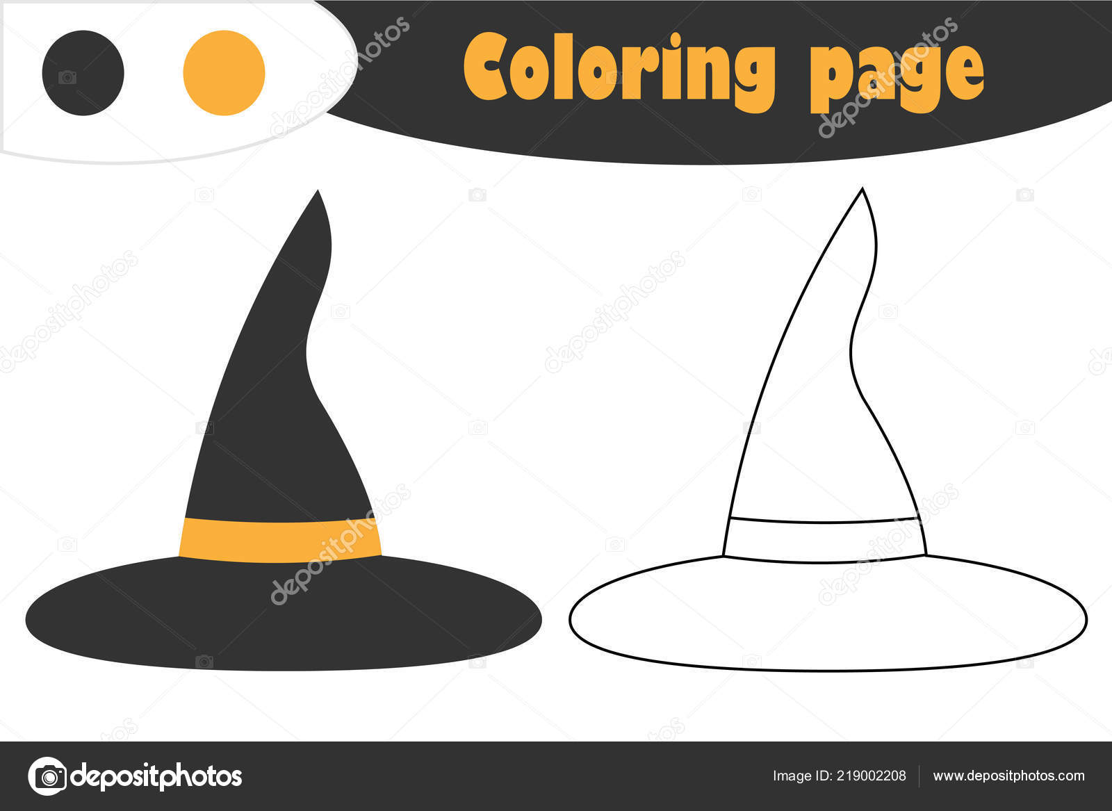 graphic about Witch Hat Printable identify Witch Hat Cartoon Design and style Halloween Coloring Webpage Training