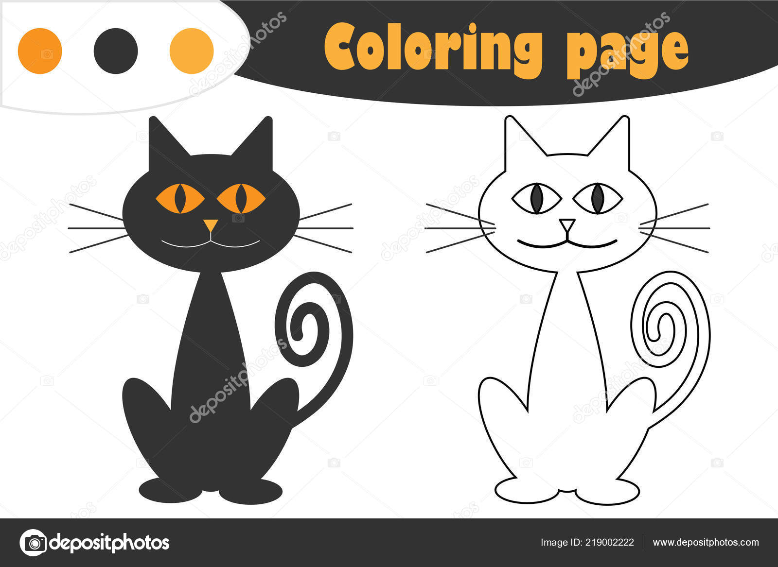 Cat Cartoon Style Halloween Coloring Page Education Paper