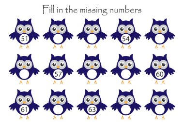 Game with owls for children, fill in the missing numbers, middle level, education game for kids, school worksheet activity, task for the development of logical thinking, vector illustration