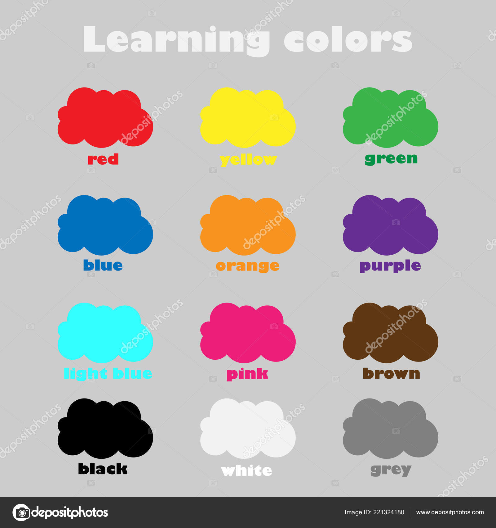 Learning Colors Children Fun Education Game Kids Colorful Clouds ...