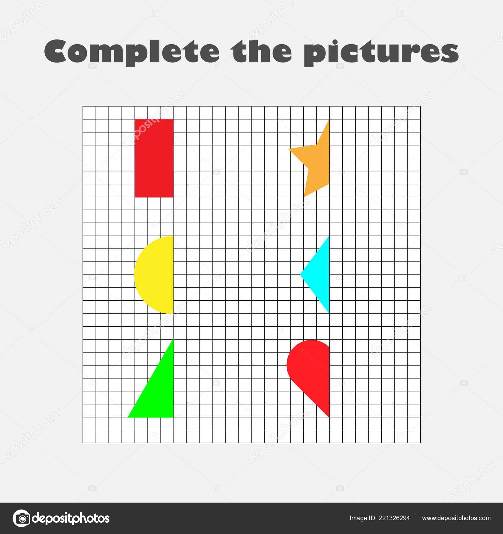 Completar Cuadro Figuras Geometricas Dibujo Capacitacion Papel