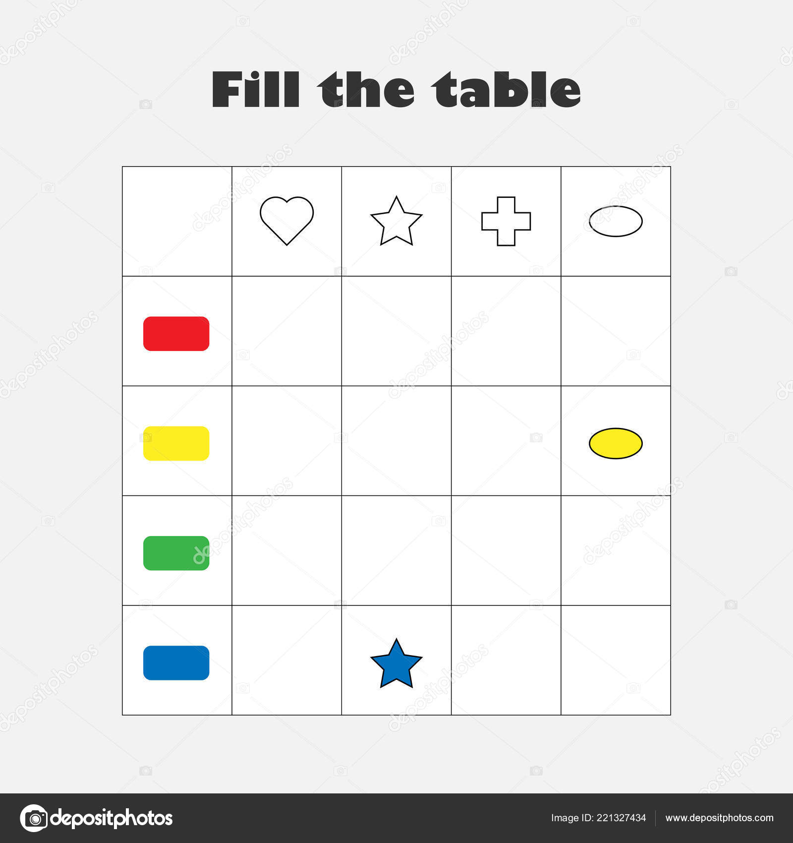 fill table colorful geometric shapes children fun education game