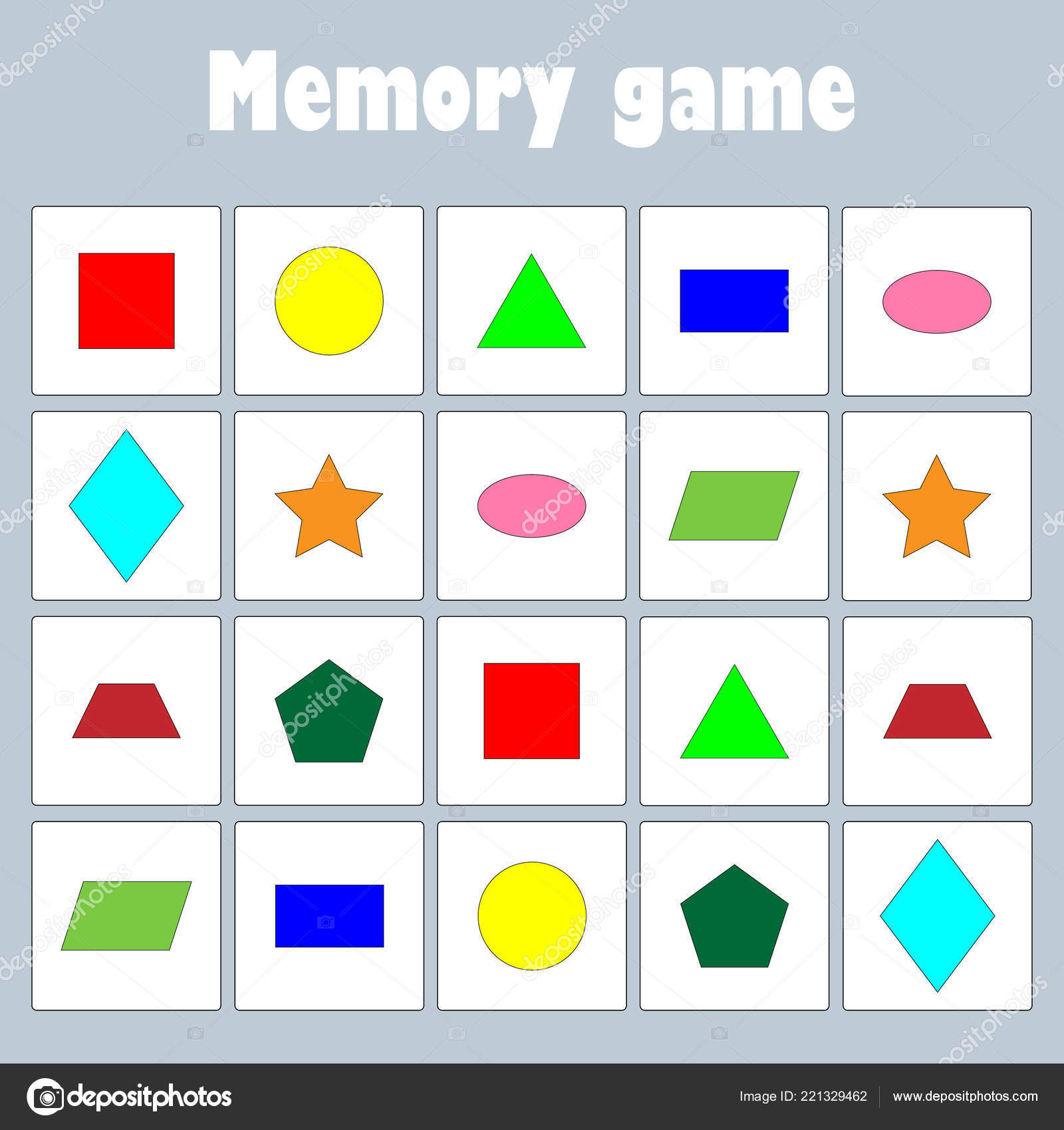 memory game pictures geometric shapes children fun education game
