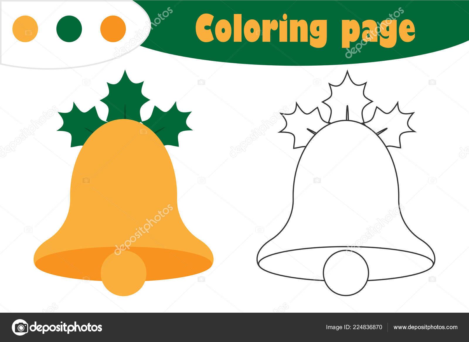 Campana Estilo Dibujos Animados Página Para Colorear Navidad