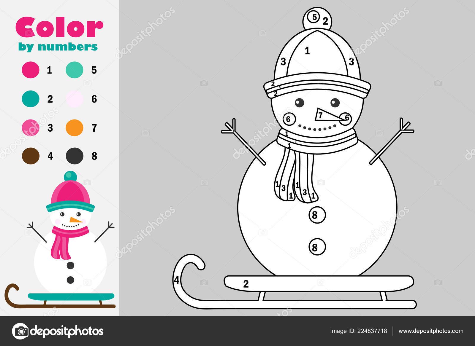 Muneco Nieve Estilo Dibujos Animados Color Por Numero Papel Navidad