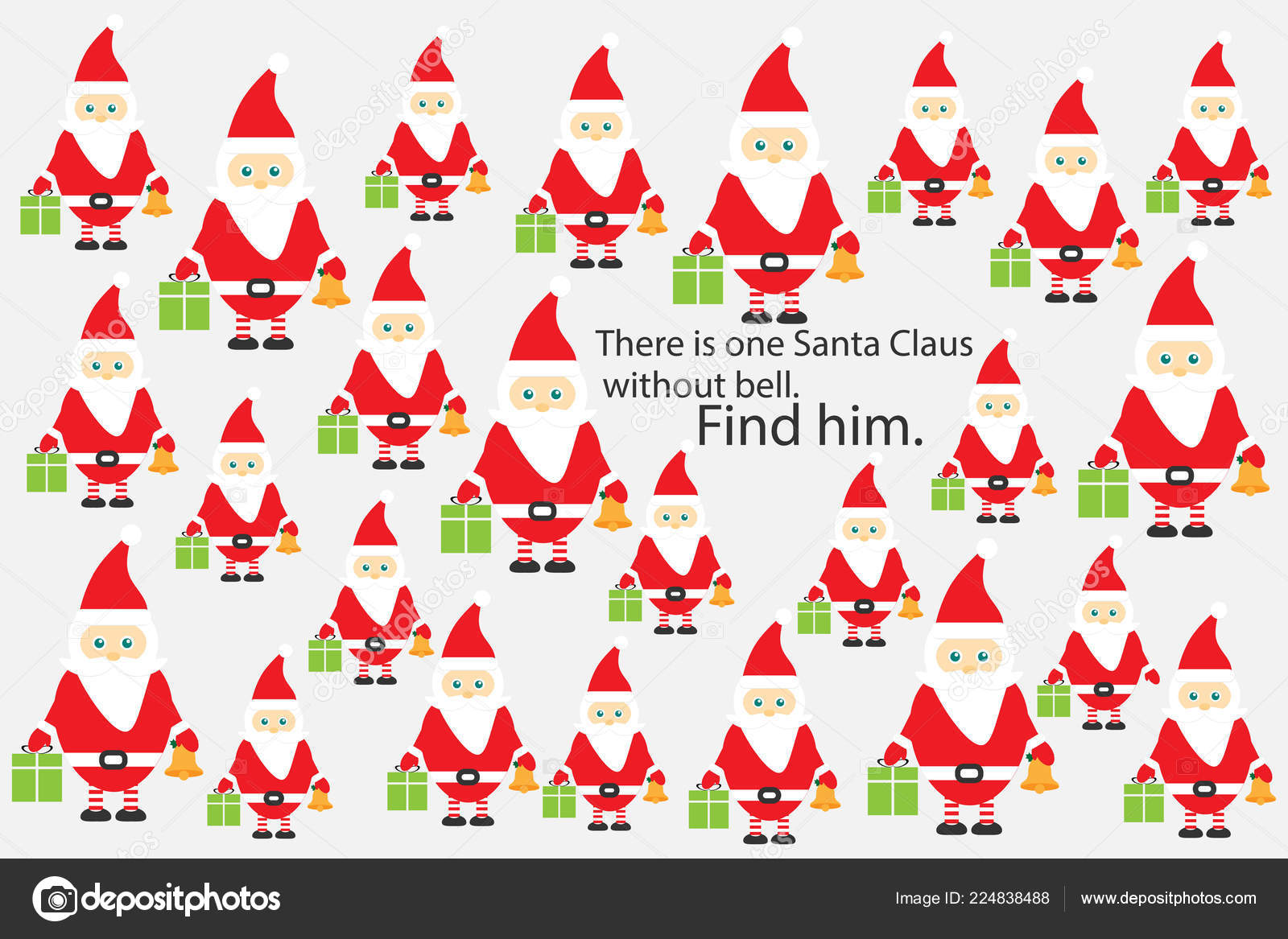 Christmas Preschool.Find Santa Claus Without Bell Christmas Fun Education