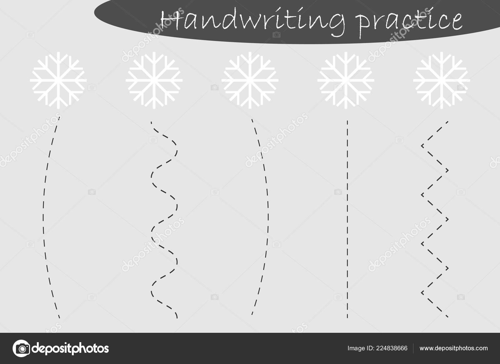 Hoja De Ejercicios De Escritura Tema De Navidad Copos De Nieve