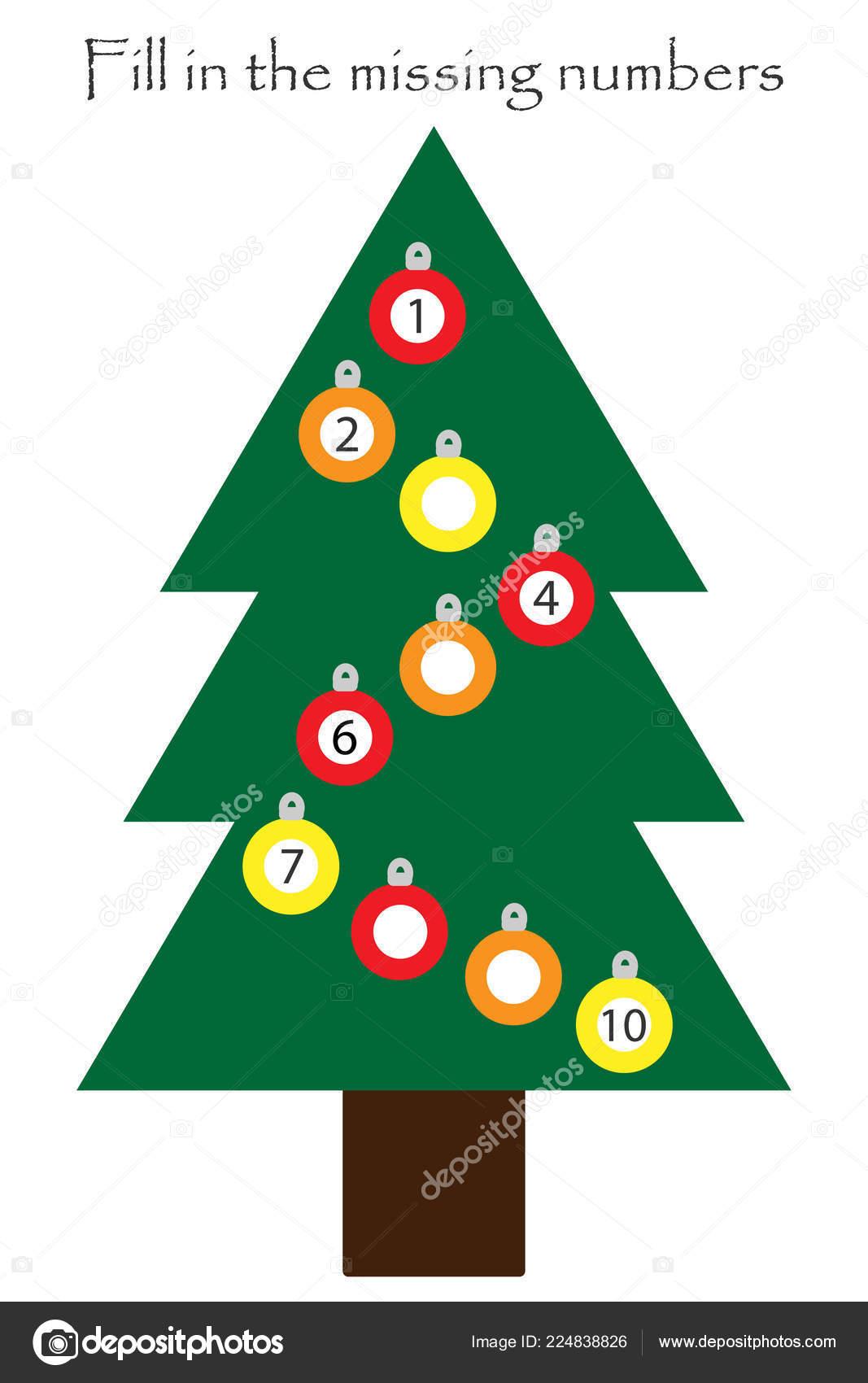 Juego Con Arbol De Navidad Para Los Ninos Llenar Los Numeros Que