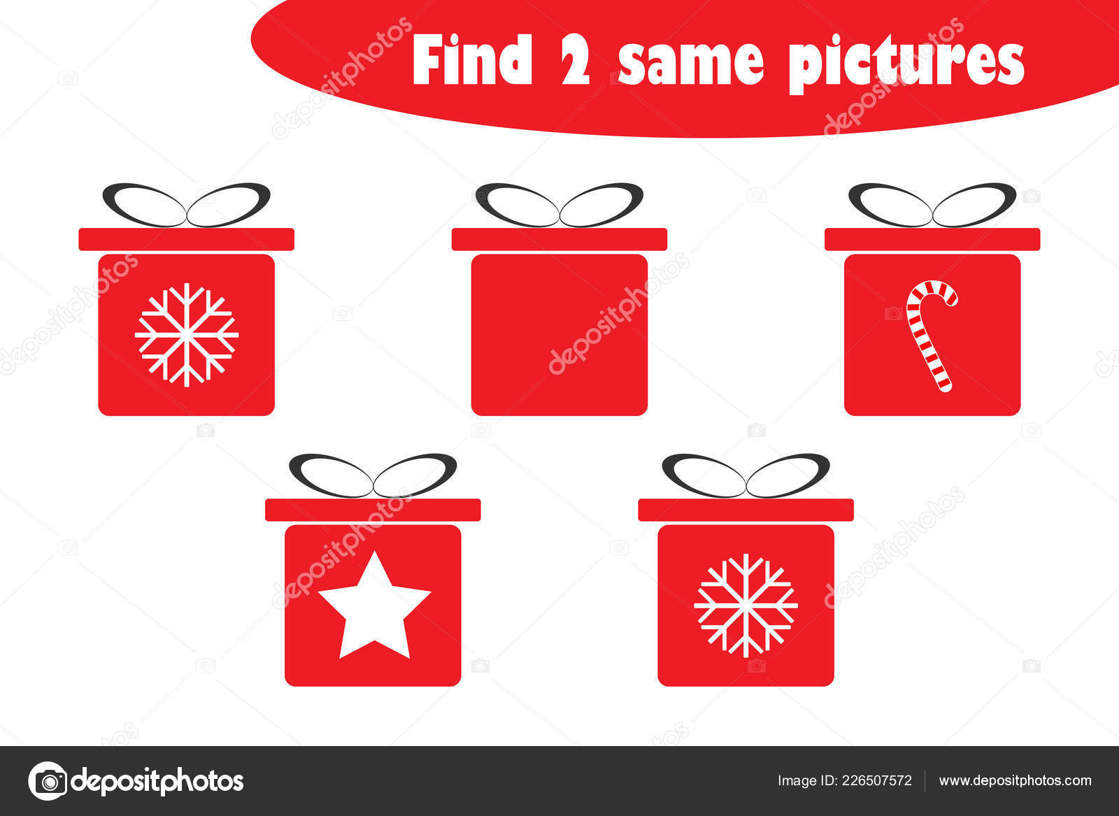 find two identical pictures fun education game christmas gift boxes