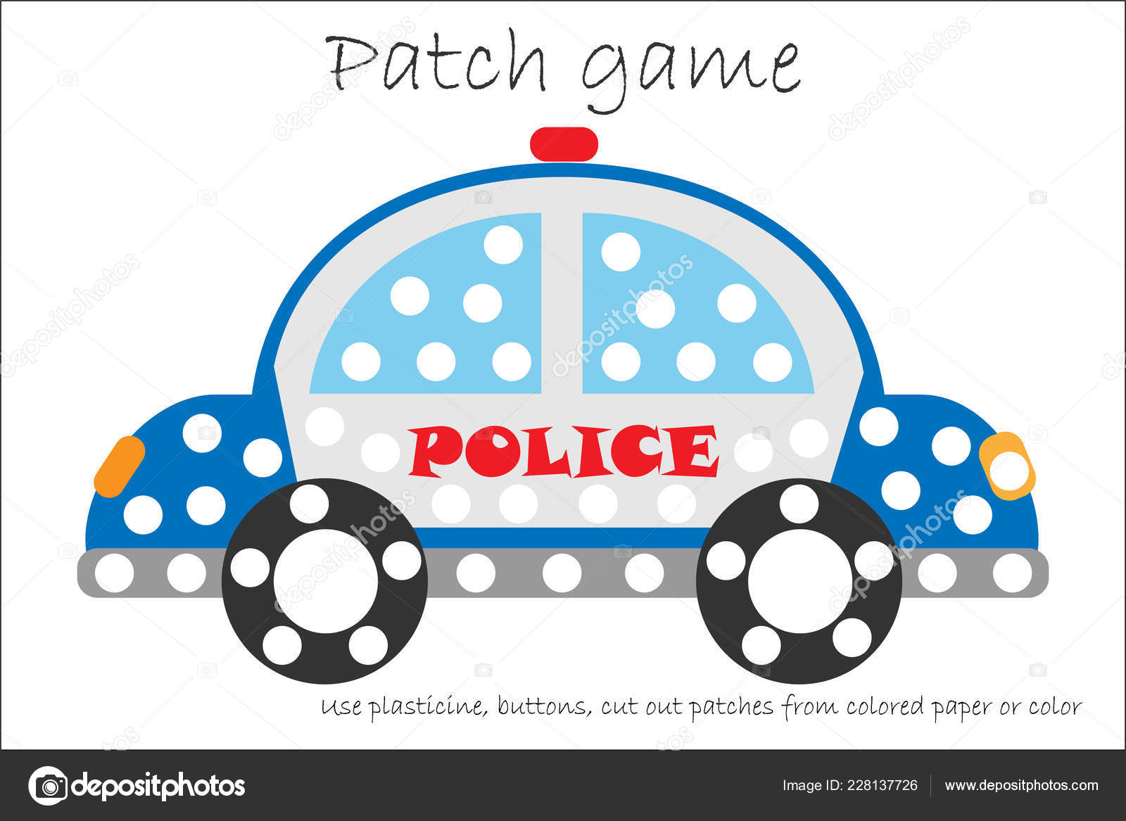 Education Patch Game Police Car Children Develop Motor Skills Use