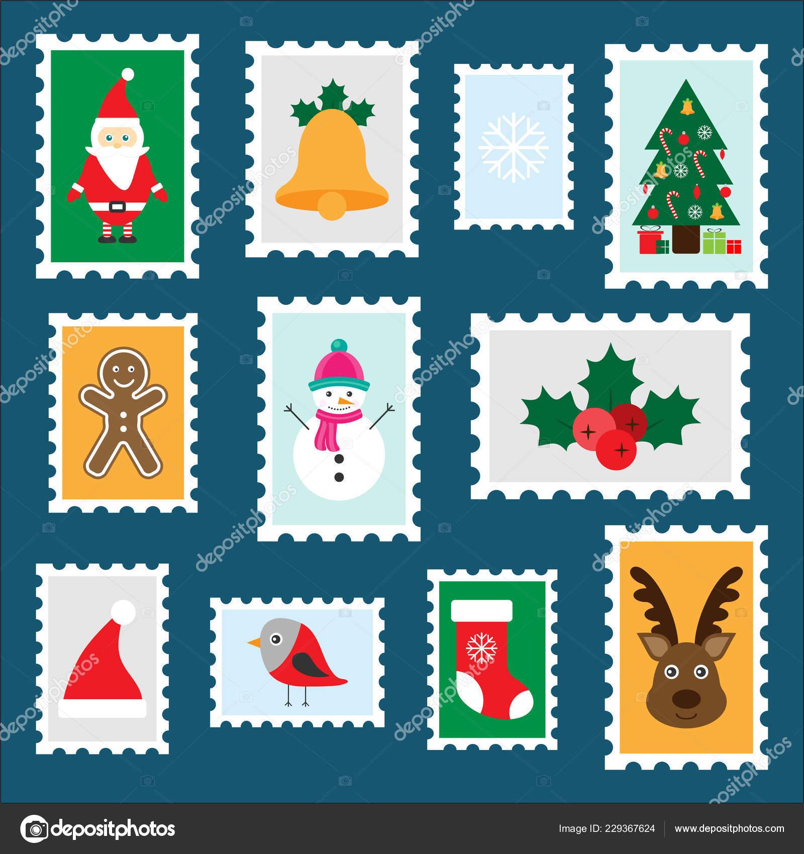 Immagini Di Natale Per Bambini Colorate.Diversi Francobolli Colorati Natale Bambini Divertente