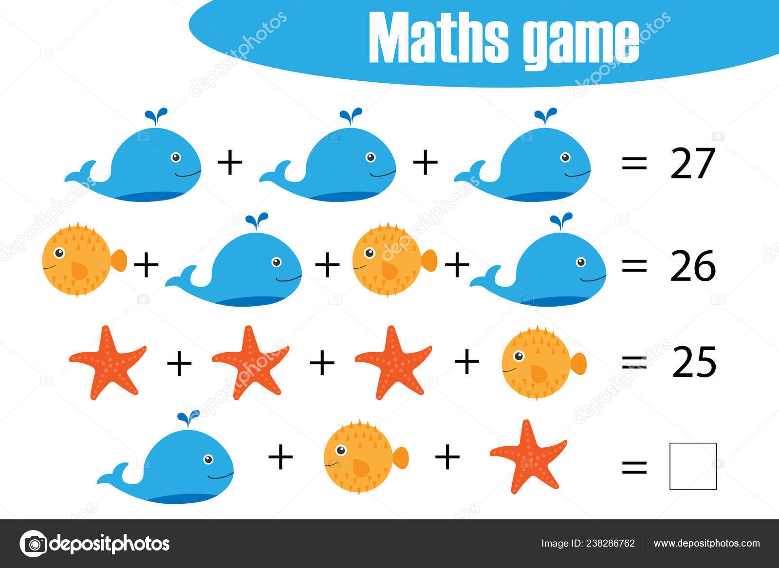 Maths Game Pictures Ocean Animals Children Middle Level Education