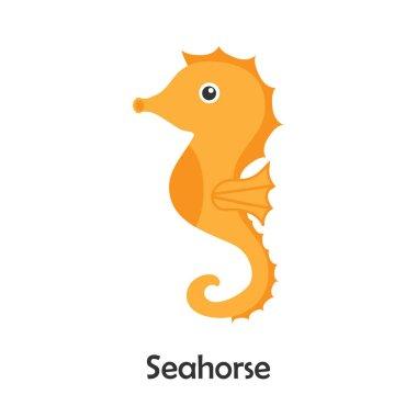 Seahorse in cartoon style, marine card with ocean animal for kid, preschool activity for children, vector