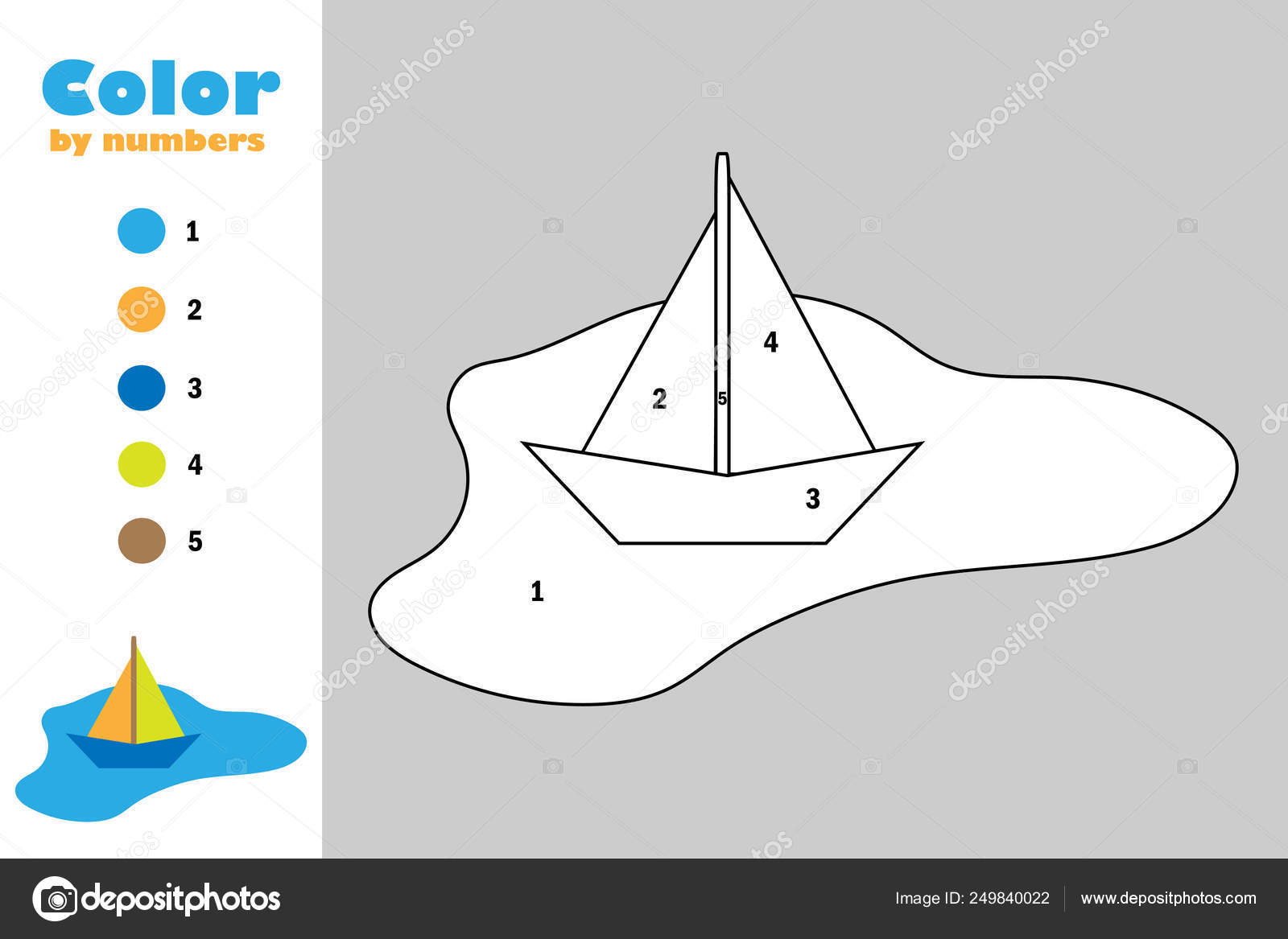 красочные бумажный кораблик в лужу в мультяшном стиле цвет