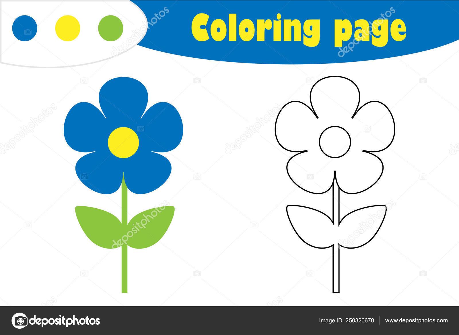 Azul Flor En Estilo De Dibujos Animados Página Para Colorear