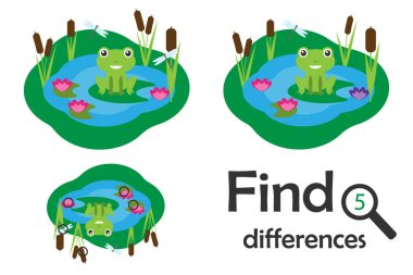 Find 5 differences, game for children, pond with frog in cartoon style, education game for kids, preschool worksheet activity, task for the development of logical thinking, vector illustration