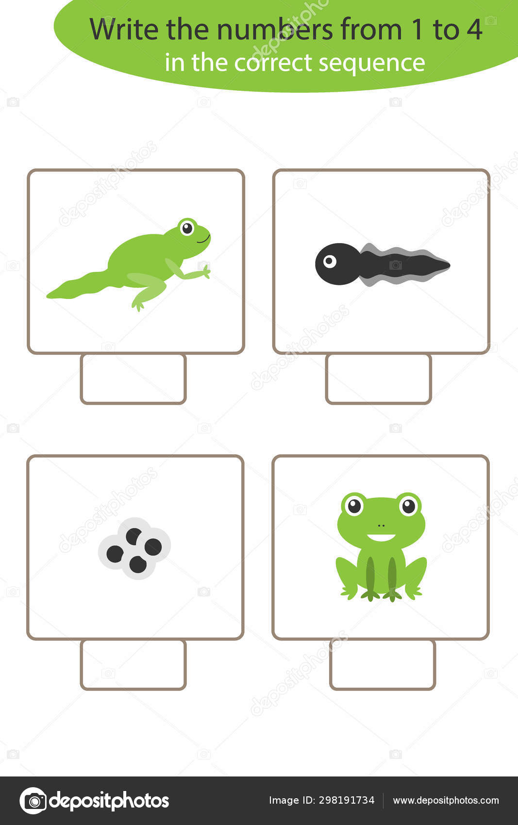 Visual Game With Frog Life Cycle For Kids Educational Task For The Development Of Logical Thinking Preschool Worksheet Activity Write Numbers Vector Illustration Stock Vector C Olya By Mail Ru 298191734