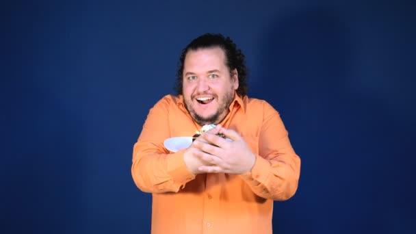 Funny Fat Man Orange Shirt Eat Cake Happy Birthday Big Stock Video