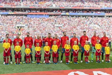 MOSCOW, RUSSIA - June, 2018: Football team at FIFA World Cup game at Spartak Stadium.