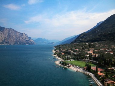 Town of Malcesine on Garda Lake, skyline view, Italy